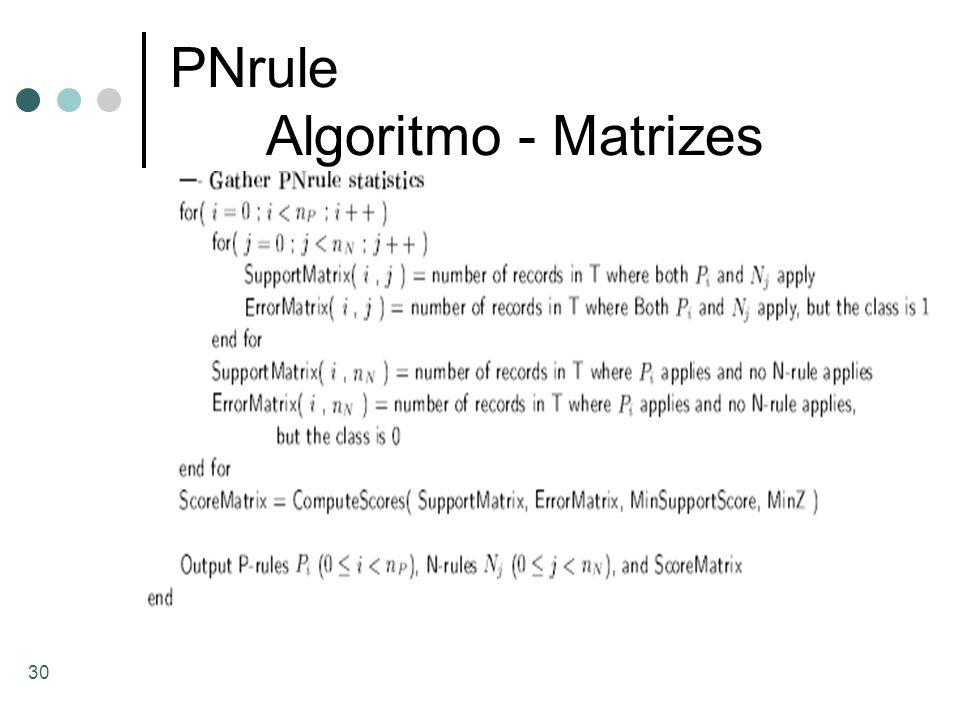 PNrule Algoritmo - Matrizes