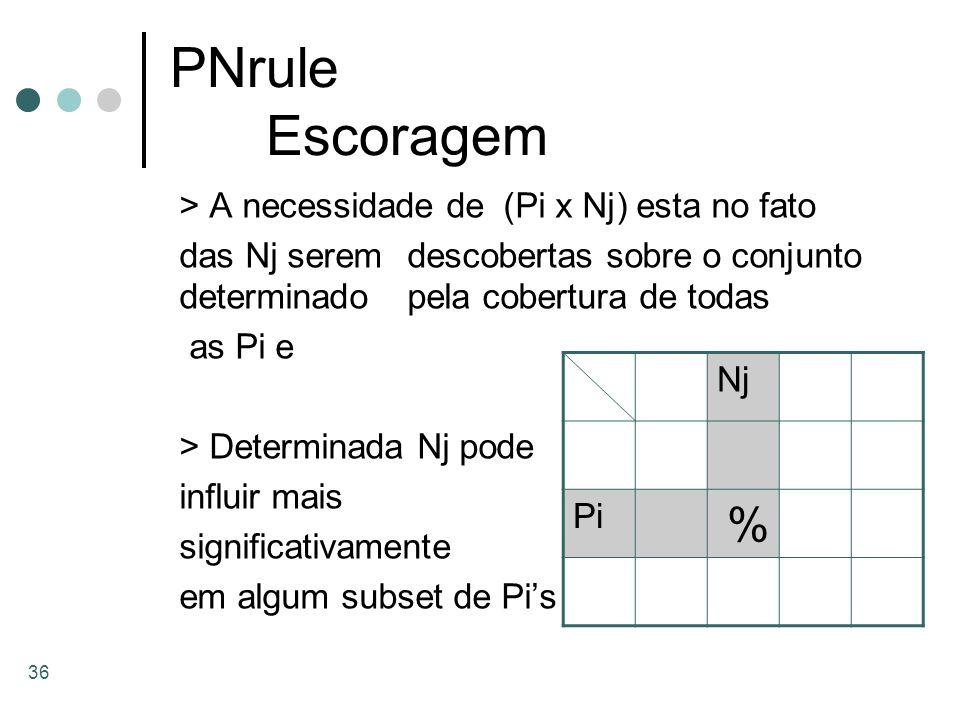 PNrule Escoragem > A necessidade de (Pi x Nj) esta no fato