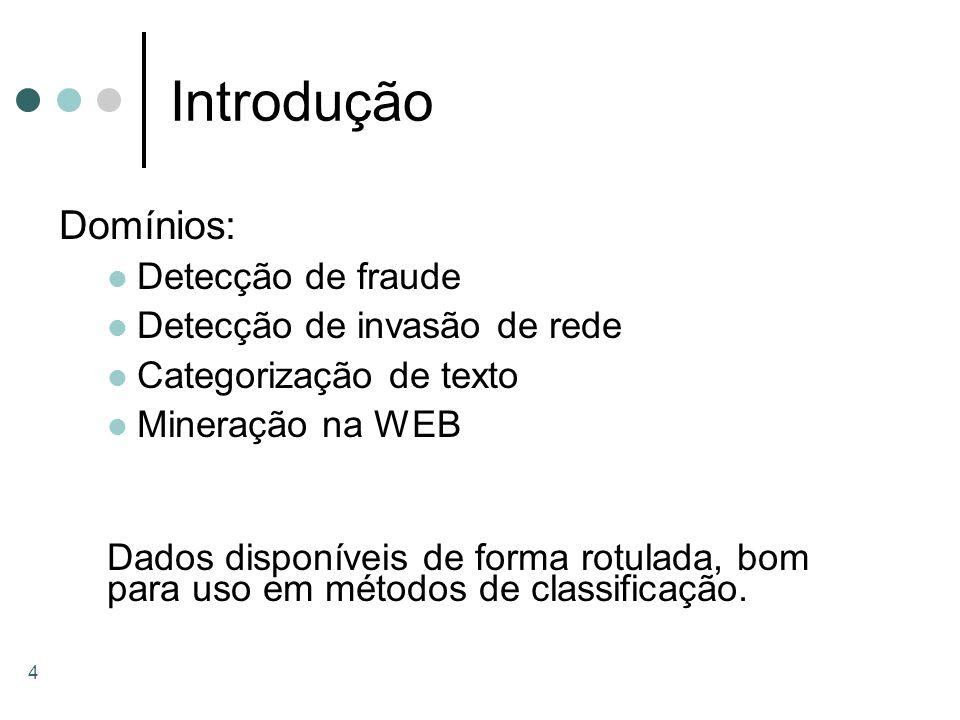 Introdução Domínios: Detecção de fraude Detecção de invasão de rede