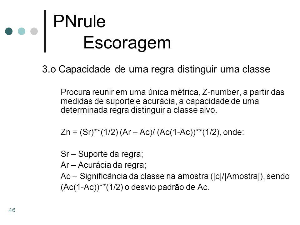 PNrule Escoragem 3.o Capacidade de uma regra distinguir uma classe