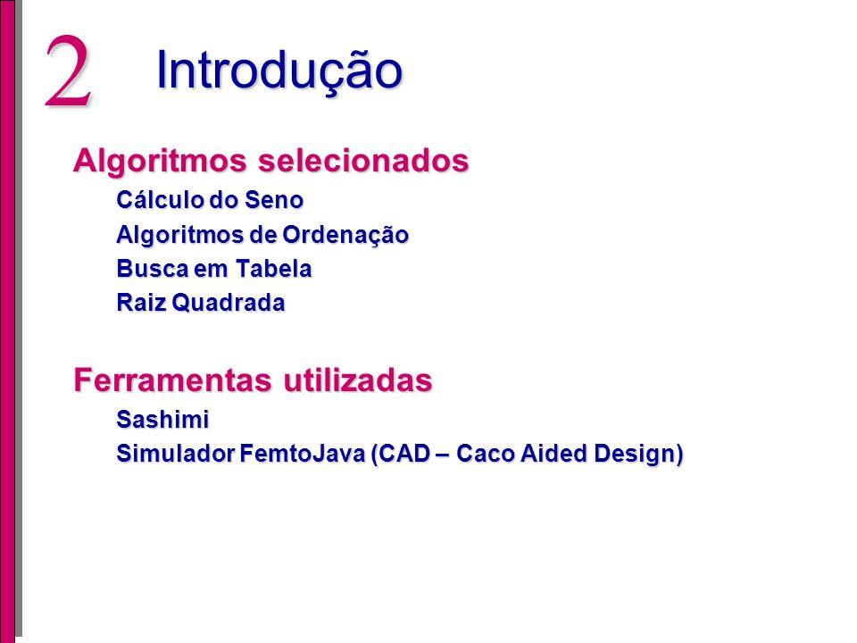 Introdução Algoritmos selecionados Ferramentas utilizadas