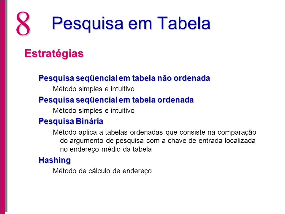 Pesquisa em Tabela Estratégias