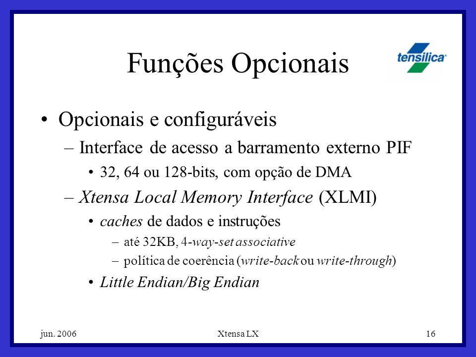 Funções Opcionais Opcionais e configuráveis