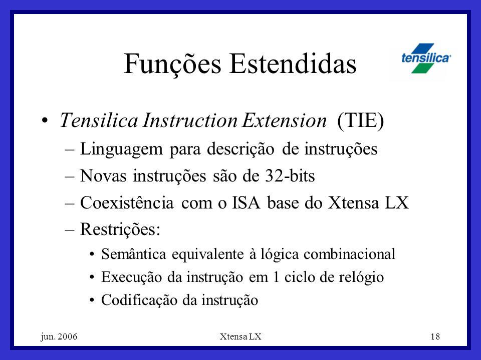 Funções Estendidas Tensilica Instruction Extension (TIE)