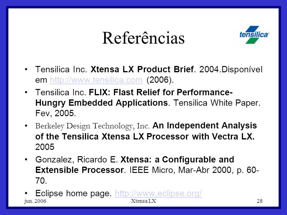 Referências Tensilica Inc. Xtensa LX Product Brief. 2004.Disponível em http://www.tensilica.com (2006).