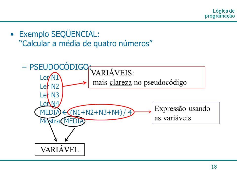 Exemplo SEQÜENCIAL: Calcular a média de quatro números