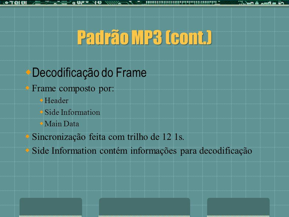 Padrão MP3 (cont.) Decodificação do Frame Frame composto por: