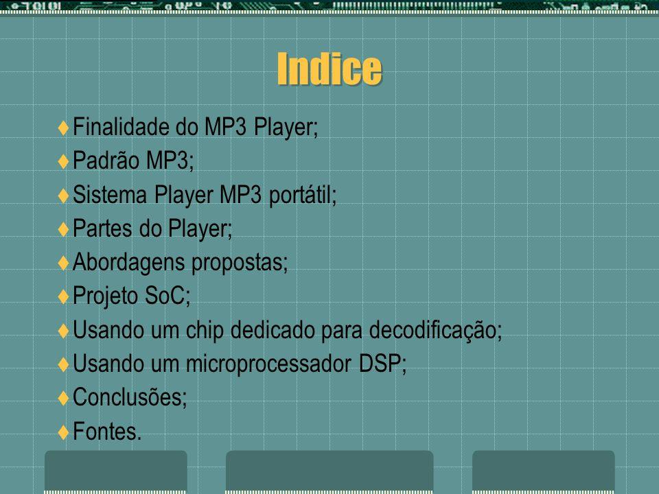 Indice Finalidade do MP3 Player; Padrão MP3;