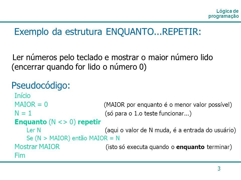 Exemplo da estrutura ENQUANTO...REPETIR: