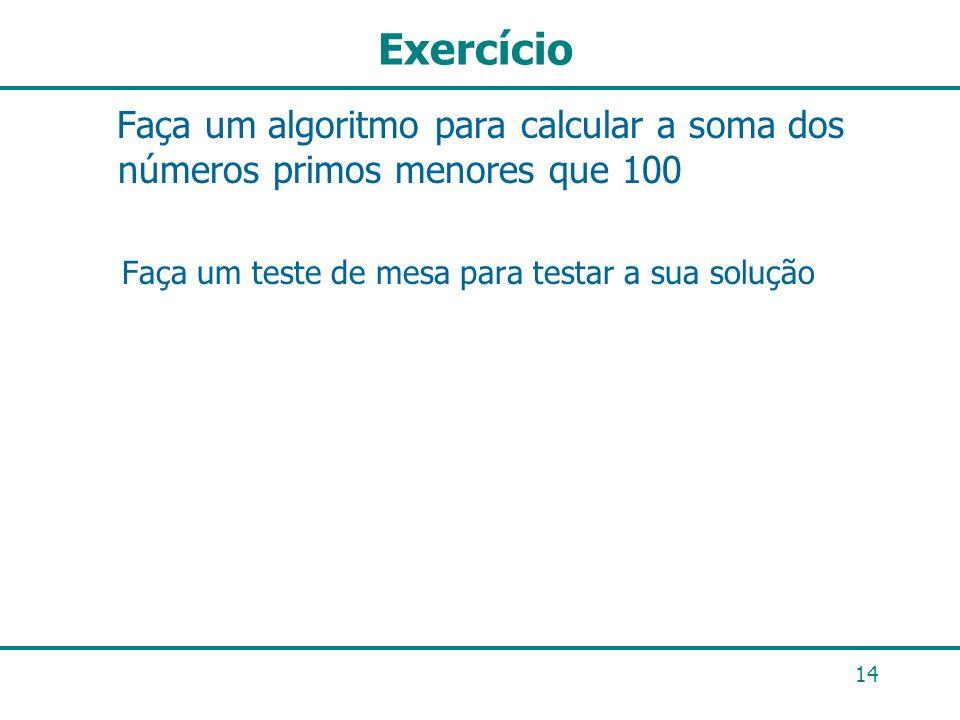 Exercício Faça um algoritmo para calcular a soma dos números primos menores que 100.