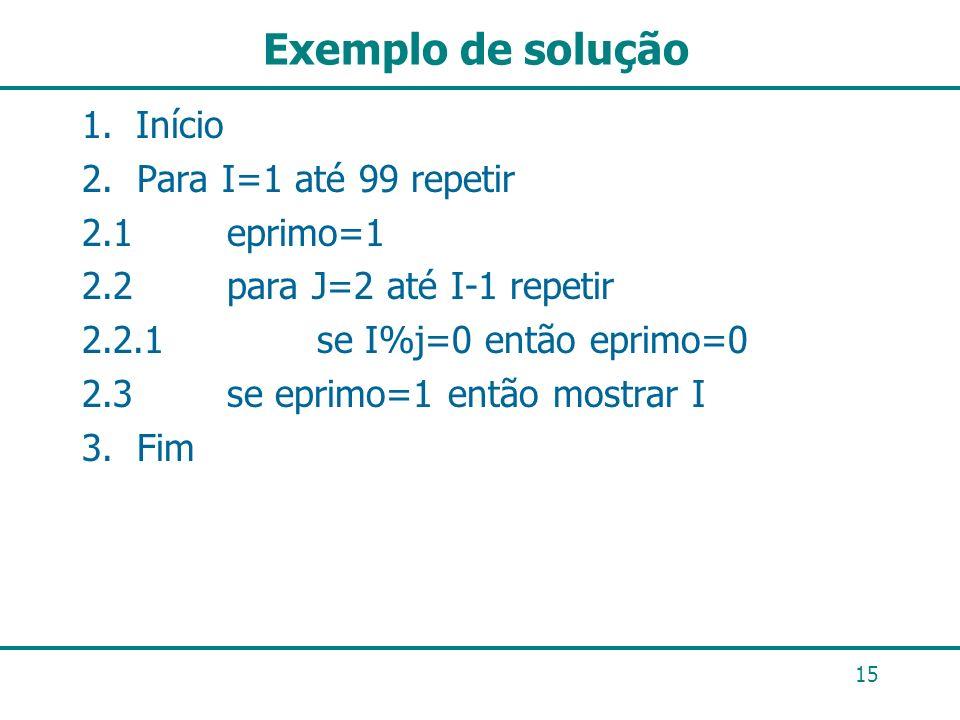 Exemplo de solução Início 2. Para I=1 até 99 repetir 2.1 eprimo=1
