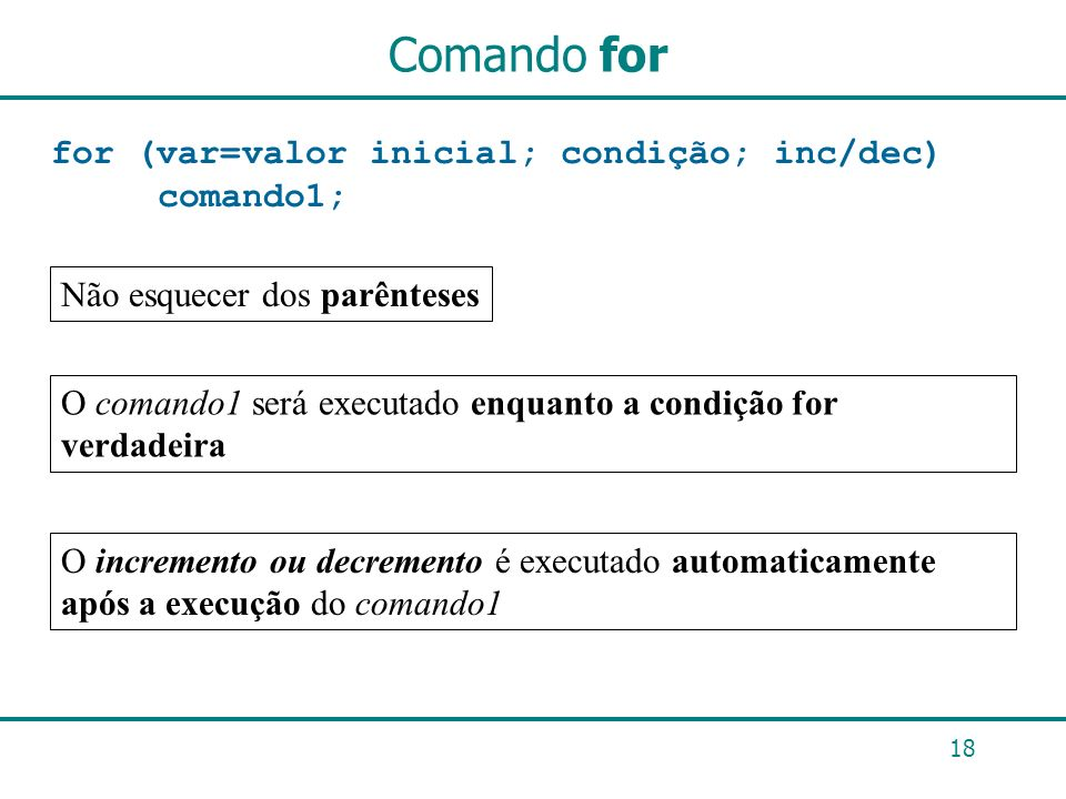 Comando for for (var=valor inicial; condição; inc/dec) comando1;