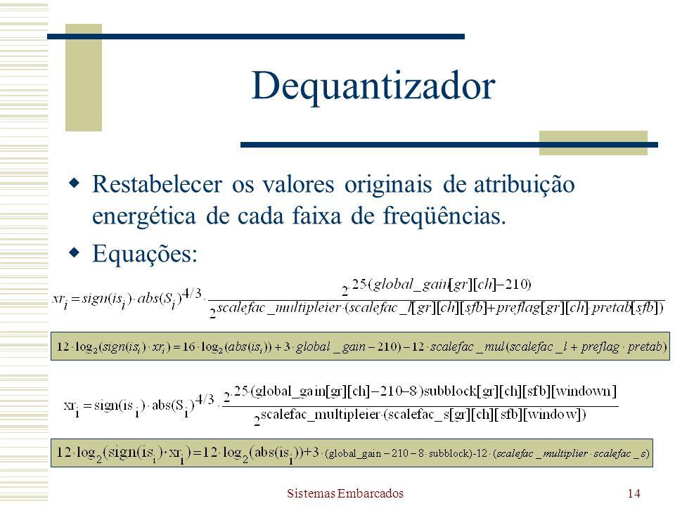 Dequantizador Restabelecer os valores originais de atribuição energética de cada faixa de freqüências.