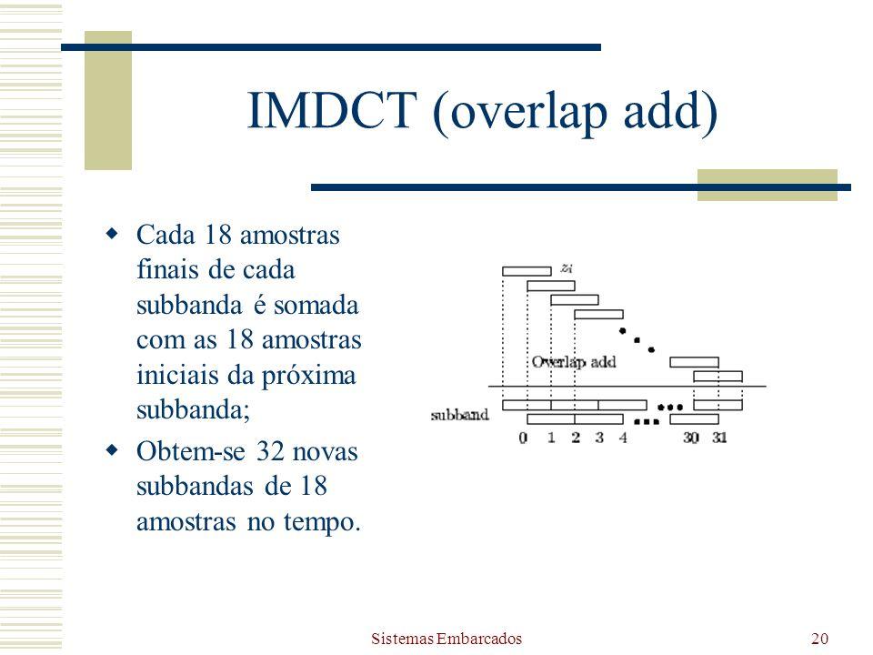 IMDCT (overlap add) Cada 18 amostras finais de cada subbanda é somada com as 18 amostras iniciais da próxima subbanda;