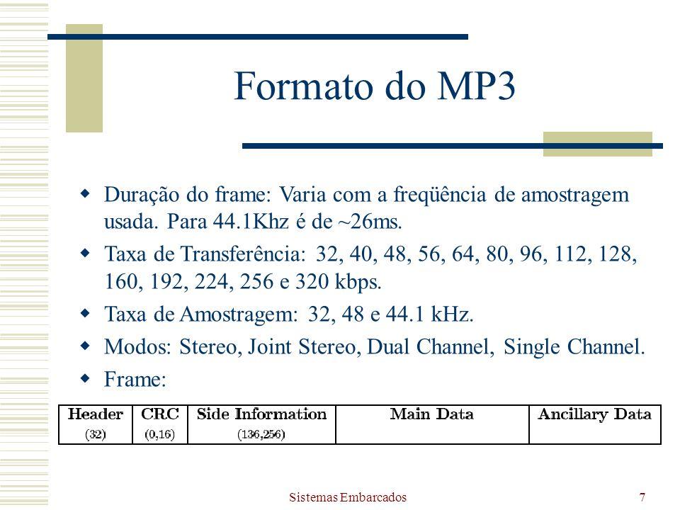 Formato do MP3 Duração do frame: Varia com a freqüência de amostragem usada. Para 44.1Khz é de ~26ms.