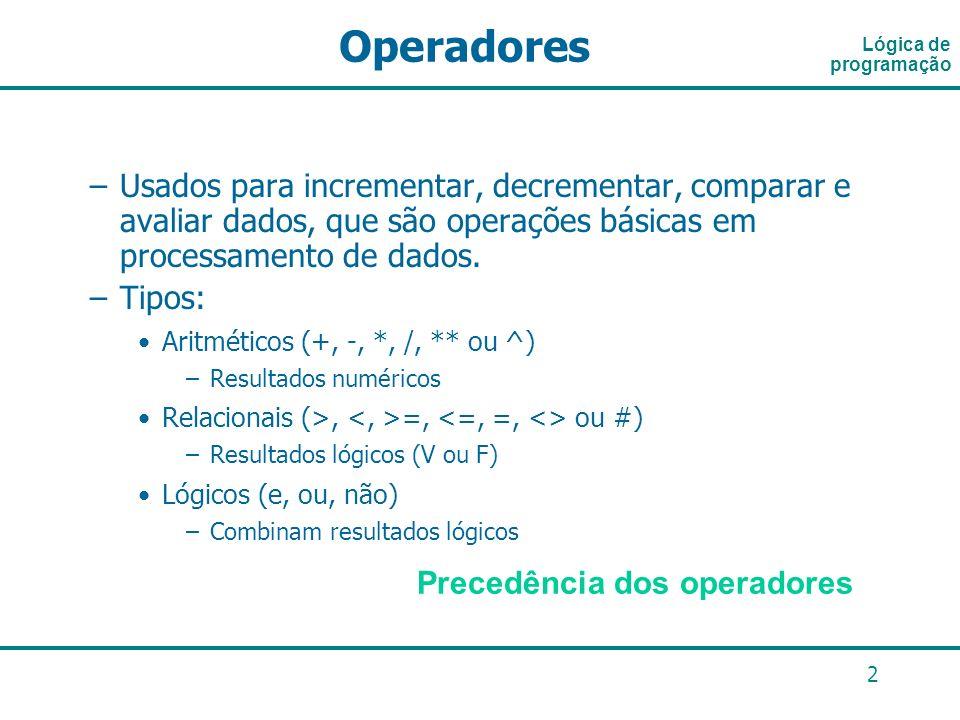 Lógica de programaçãoOperadores.
