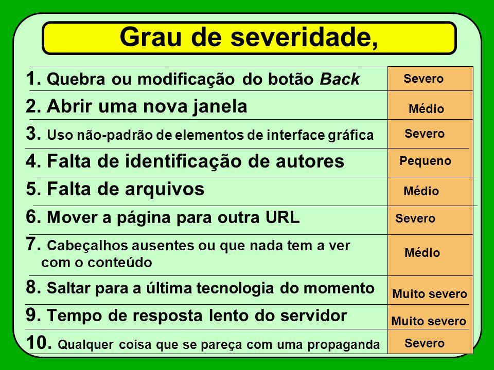 Grau de severidade, 1. Quebra ou modificação do botão Back