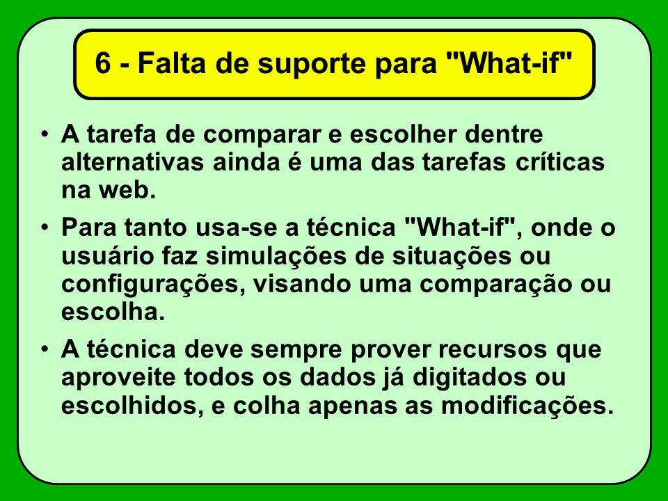 6 - Falta de suporte para What-if