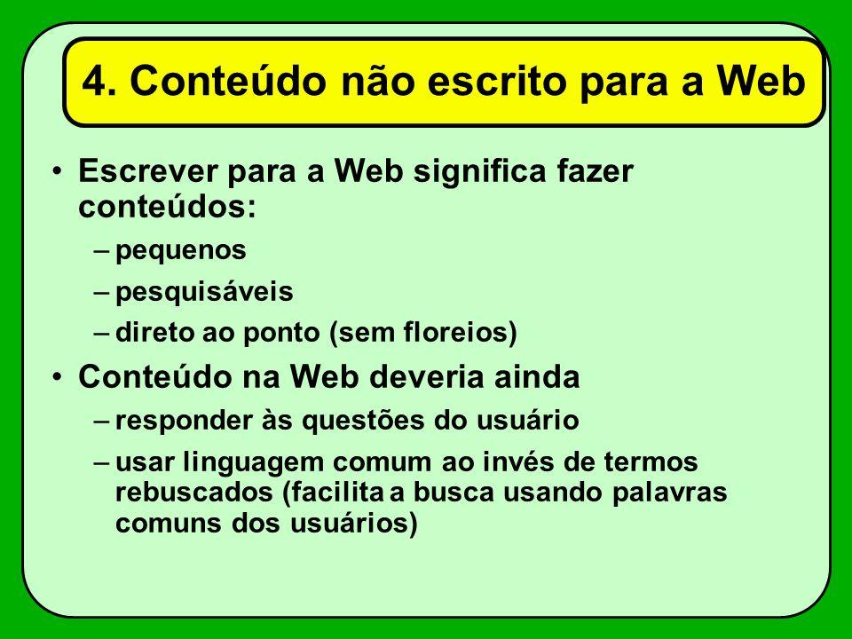 4. Conteúdo não escrito para a Web