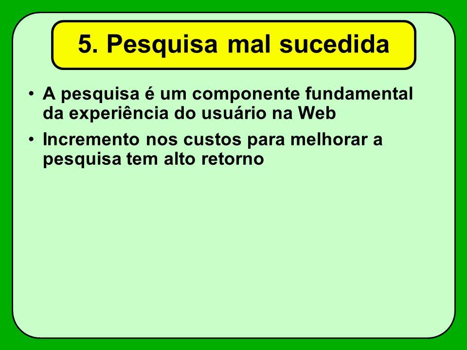 5. Pesquisa mal sucedida A pesquisa é um componente fundamental da experiência do usuário na Web.