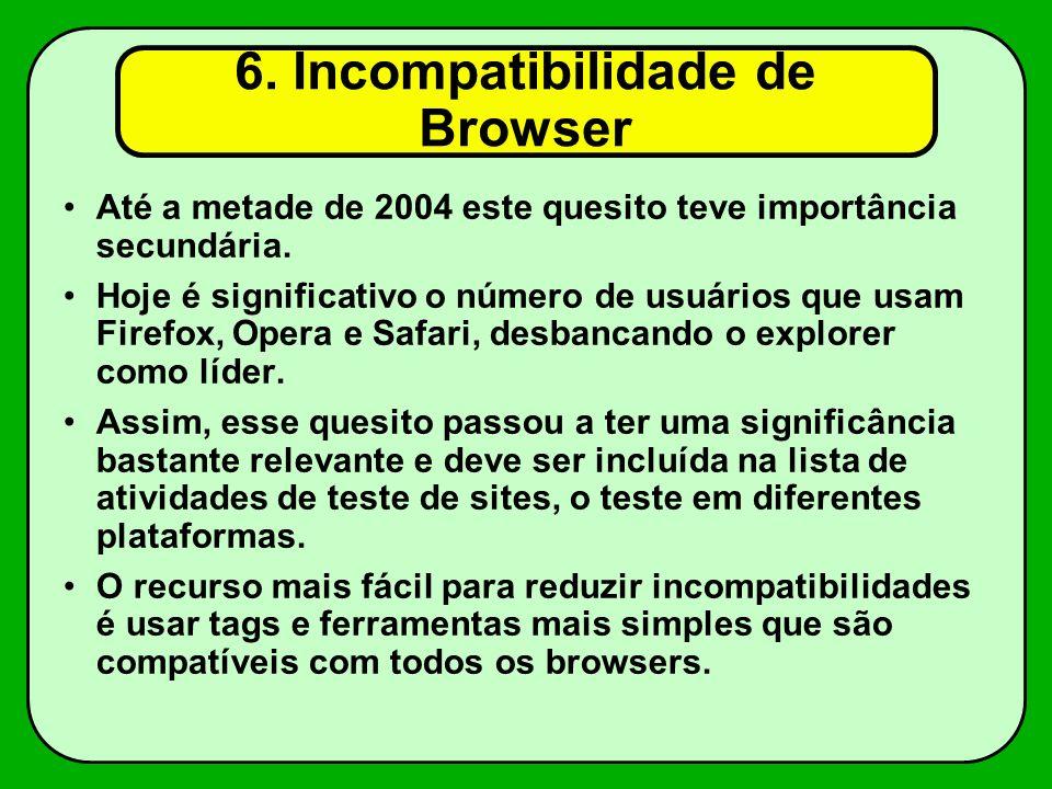 6. Incompatibilidade de Browser