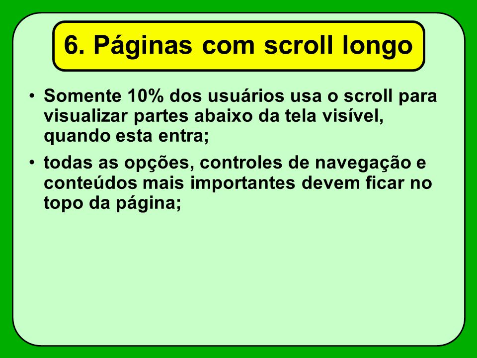 6. Páginas com scroll longo