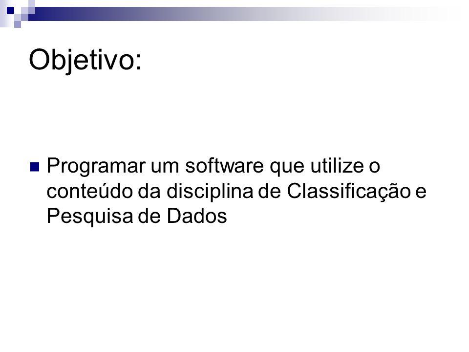 Objetivo:Programar um software que utilize o conteúdo da disciplina de Classificação e Pesquisa de Dados.