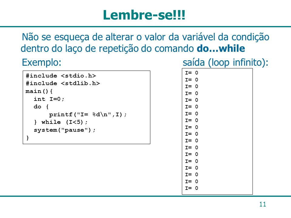 Lembre-se!!!Não se esqueça de alterar o valor da variável da condição dentro do laço de repetição do comando do…while.