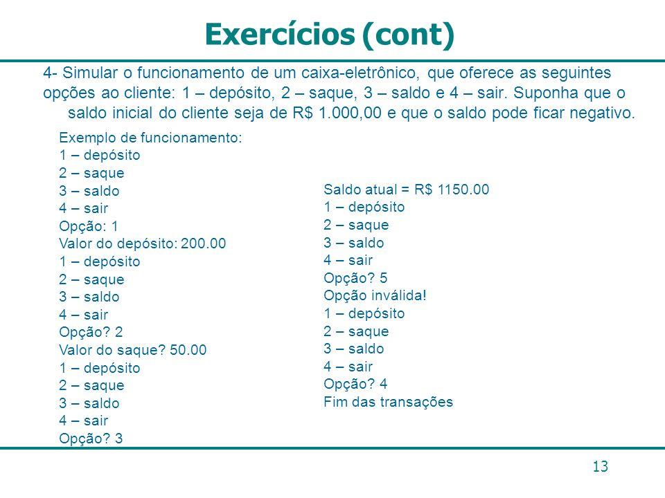 Exercícios (cont)