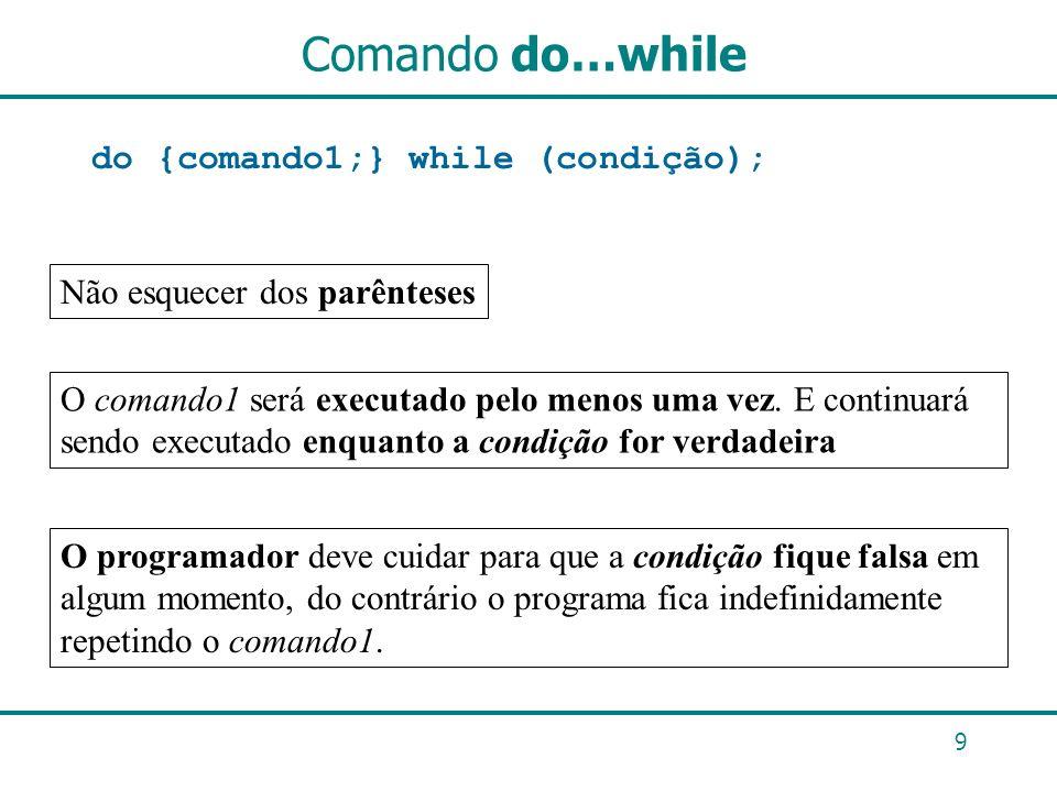Comando do…while do {comando1;} while (condição);