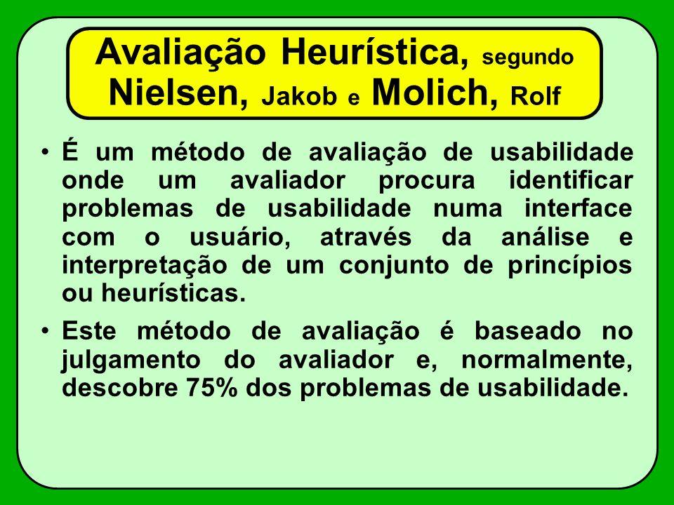 Avaliação Heurística, segundo Nielsen, Jakob e Molich, Rolf