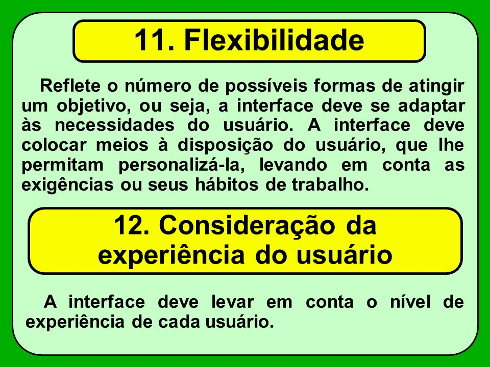 12. Consideração da experiência do usuário