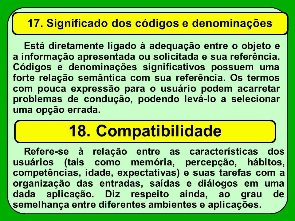 17. Significado dos códigos e denominações