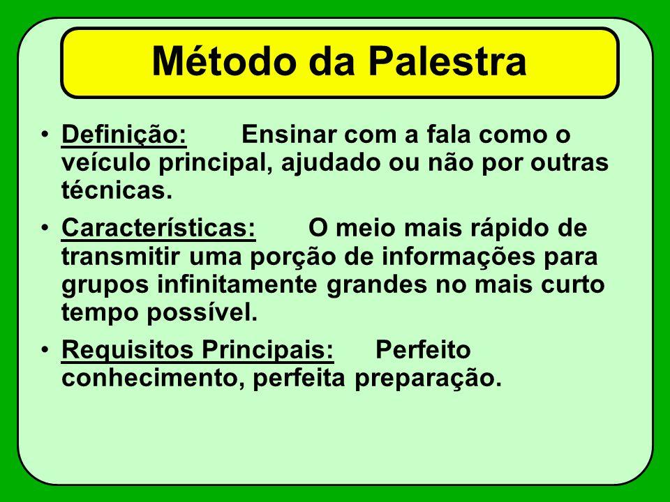 Método da Palestra Definição: Ensinar com a fala como o veículo principal, ajudado ou não por outras técnicas.