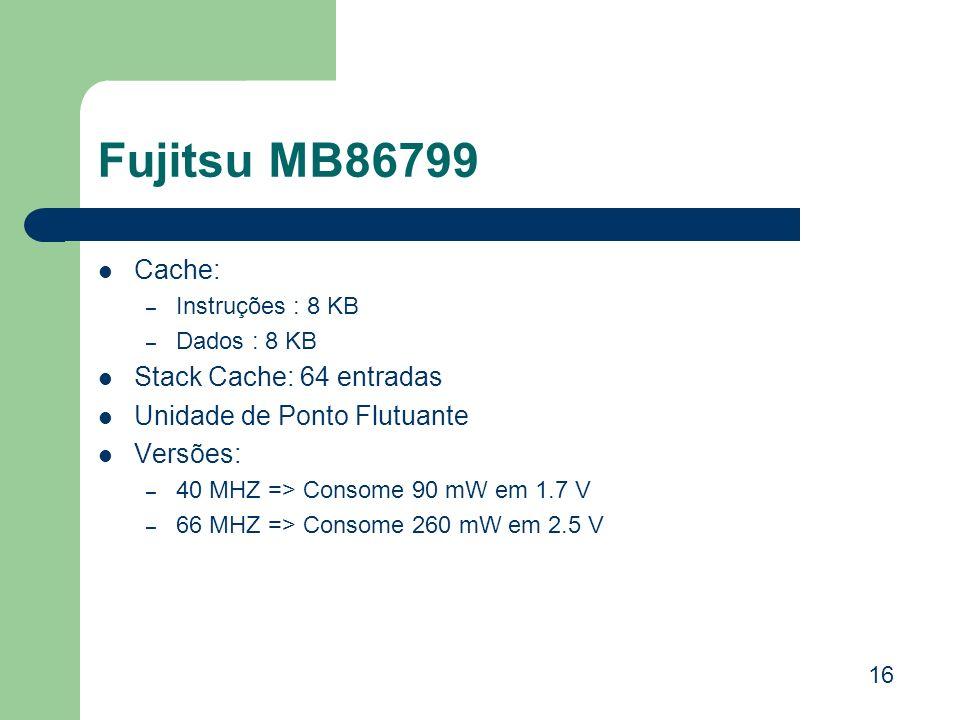Fujitsu MB86799 Cache: Stack Cache: 64 entradas