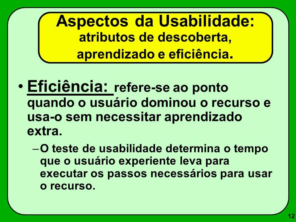 Aspectos da Usabilidade: atributos de descoberta, aprendizado e eficiência.