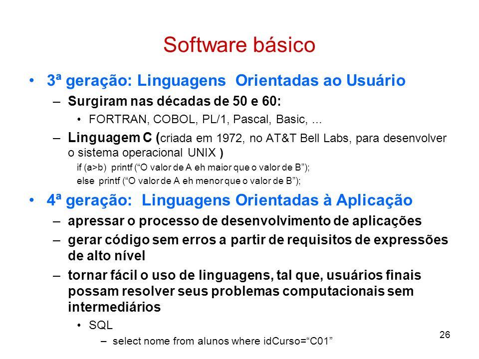 Software básico 3ª geração: Linguagens Orientadas ao Usuário