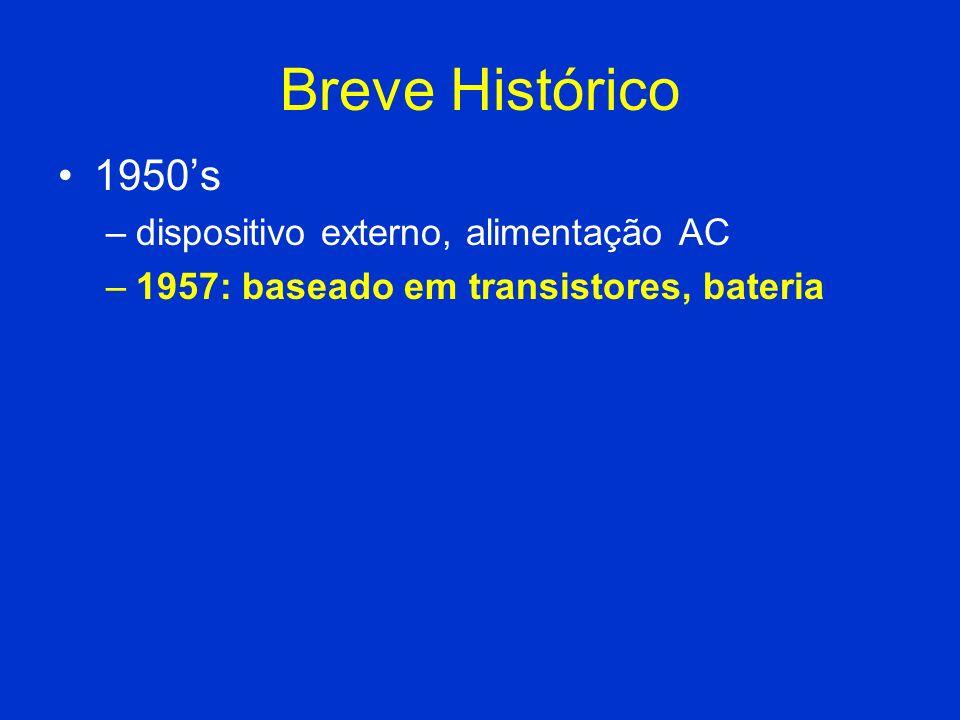 Breve Histórico 1950's dispositivo externo, alimentação AC