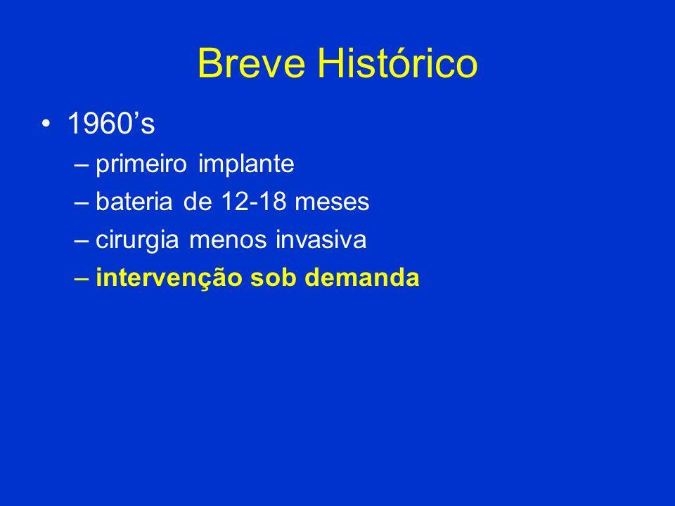 Breve Histórico 1960's primeiro implante bateria de 12-18 meses