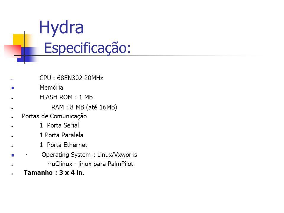 Hydra Especificação: Memória FLASH ROM : 1 MB RAM : 8 MB (até 16MB)