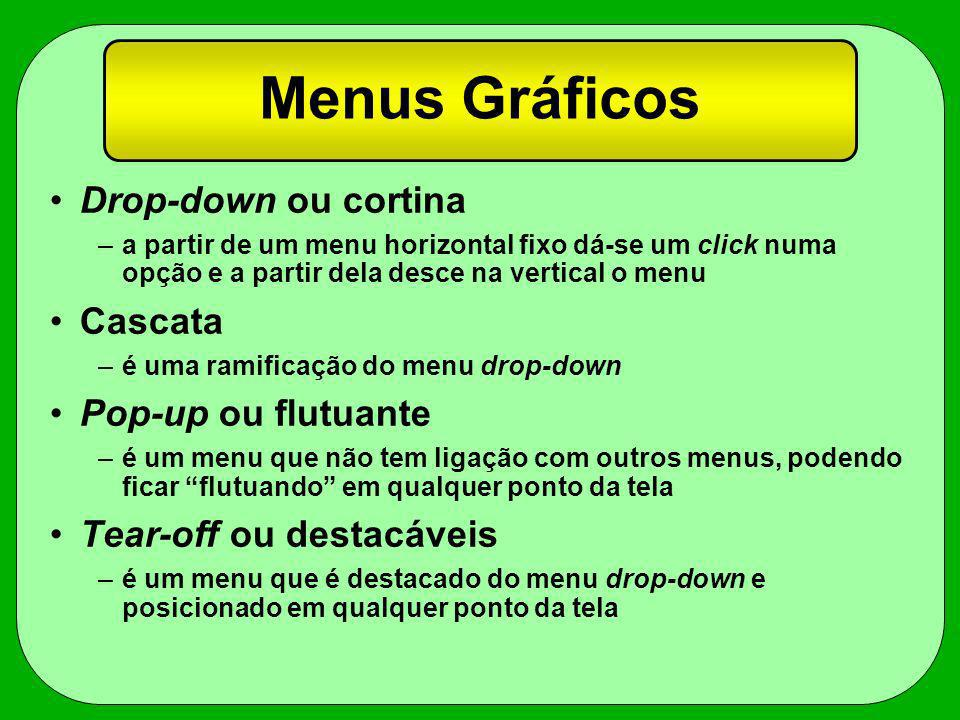 Menus Gráficos Drop-down ou cortina Cascata Pop-up ou flutuante