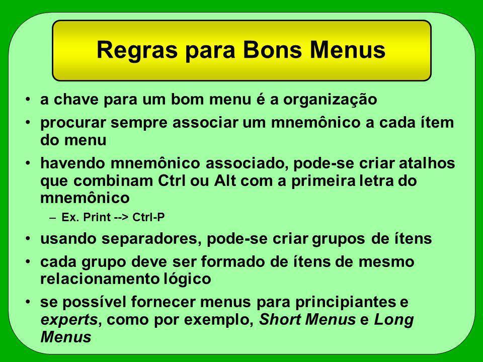 Regras para Bons Menus a chave para um bom menu é a organização