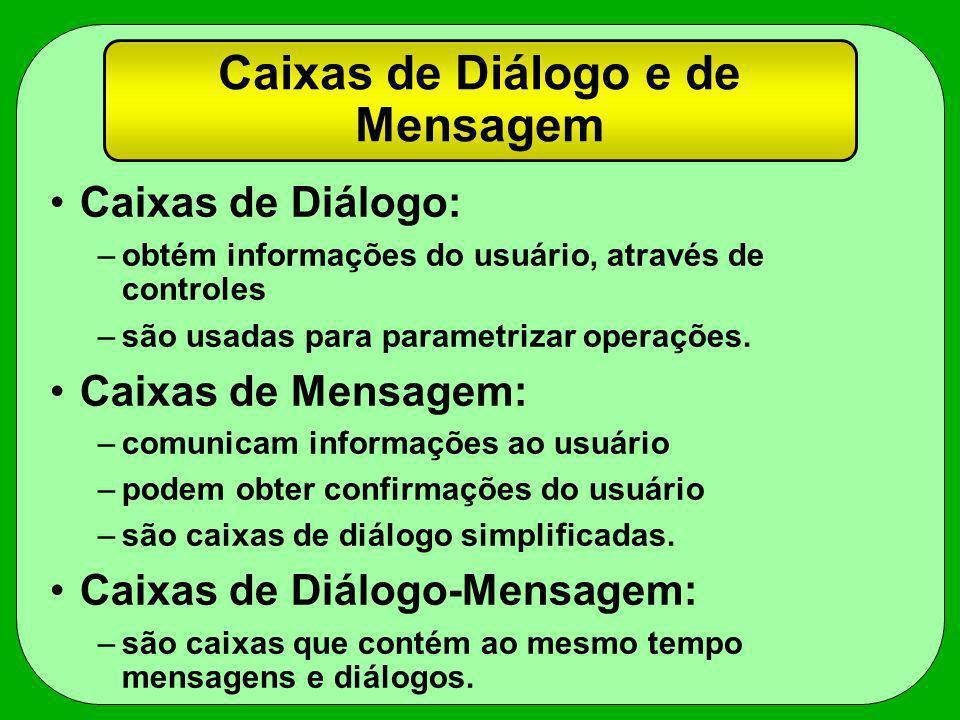 Caixas de Diálogo e de Mensagem