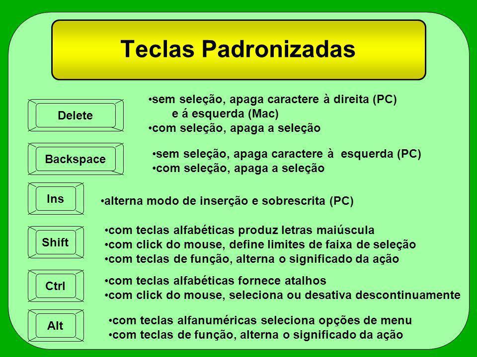 Teclas Padronizadas sem seleção, apaga caractere à direita (PC)