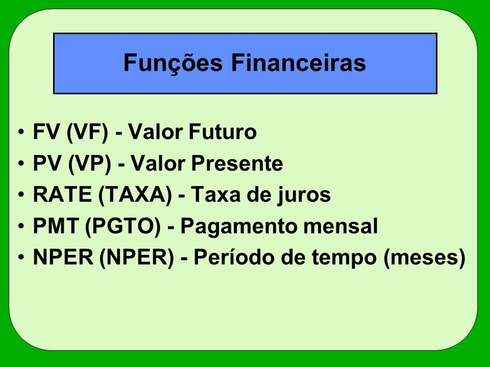 Funções Financeiras FV (VF) - Valor Futuro PV (VP) - Valor Presente
