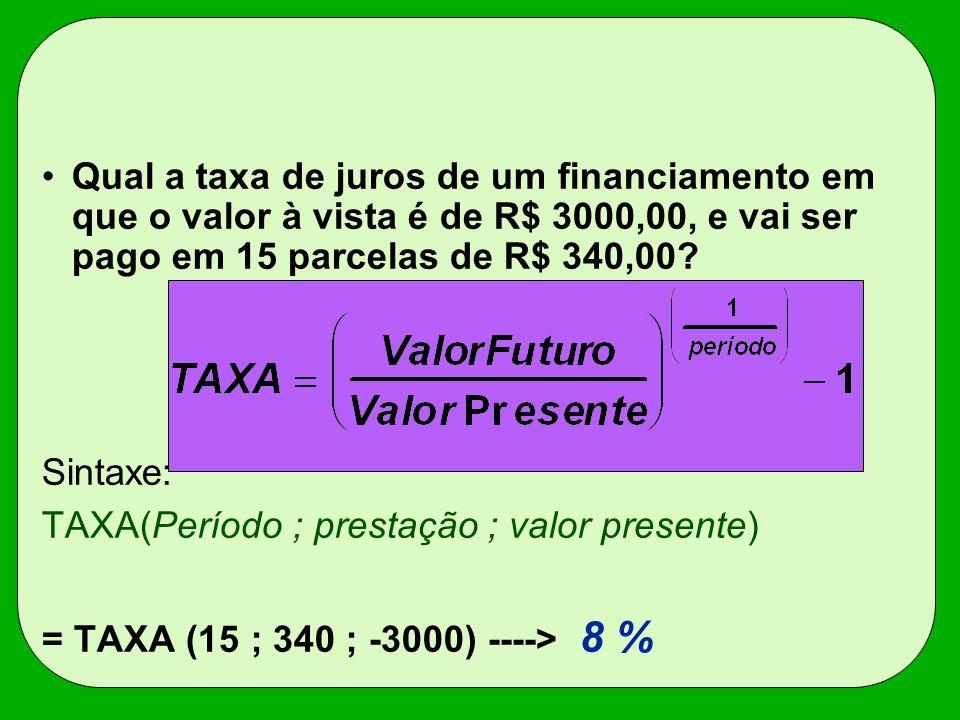 Qual a taxa de juros de um financiamento em que o valor à vista é de R$ 3000,00, e vai ser pago em 15 parcelas de R$ 340,00
