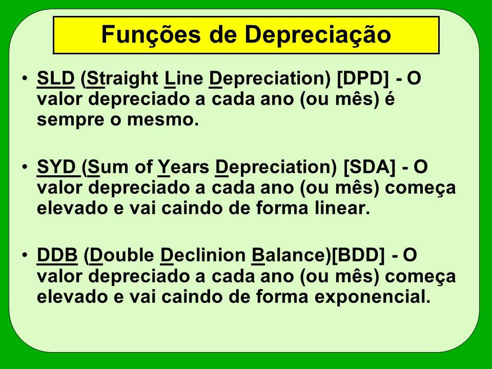 Funções de Depreciação