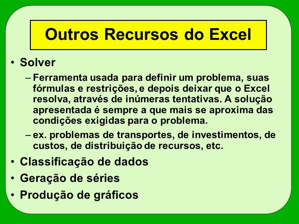 Outros Recursos do Excel