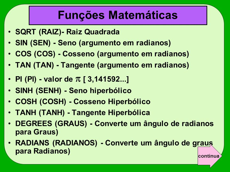 Funções Matemáticas SQRT (RAIZ)- Raiz Quadrada