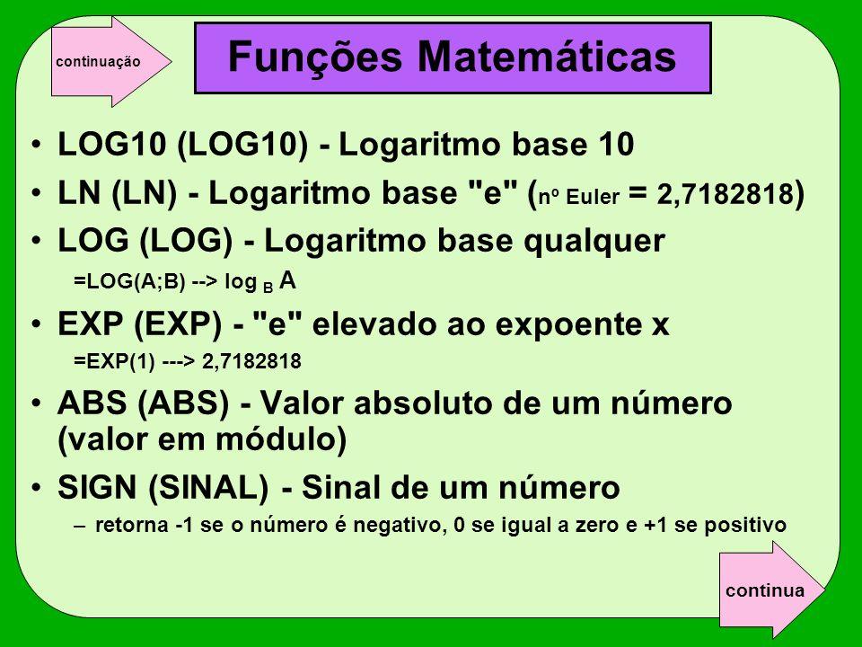 Funções Matemáticas LOG10 (LOG10) - Logaritmo base 10